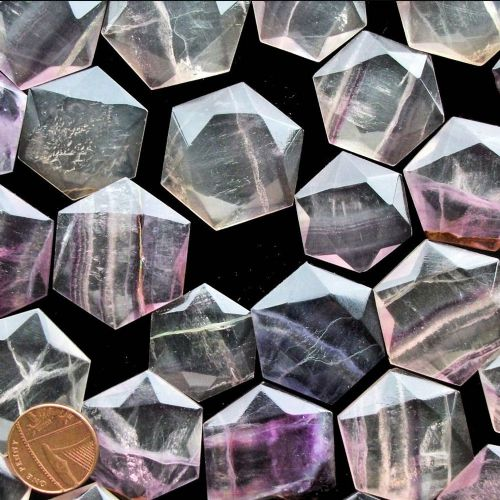 Fluorite Crystal Flat Faceted Worry Stone